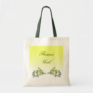 Yellow Floral Wedding Flower Girl Budget Tote Bag