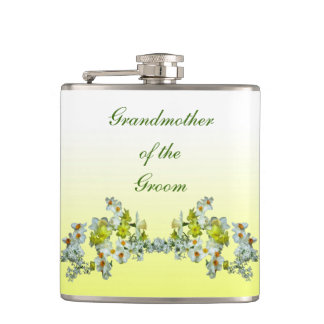 Yellow Floral Wedding Grandmother of the Groom Flask