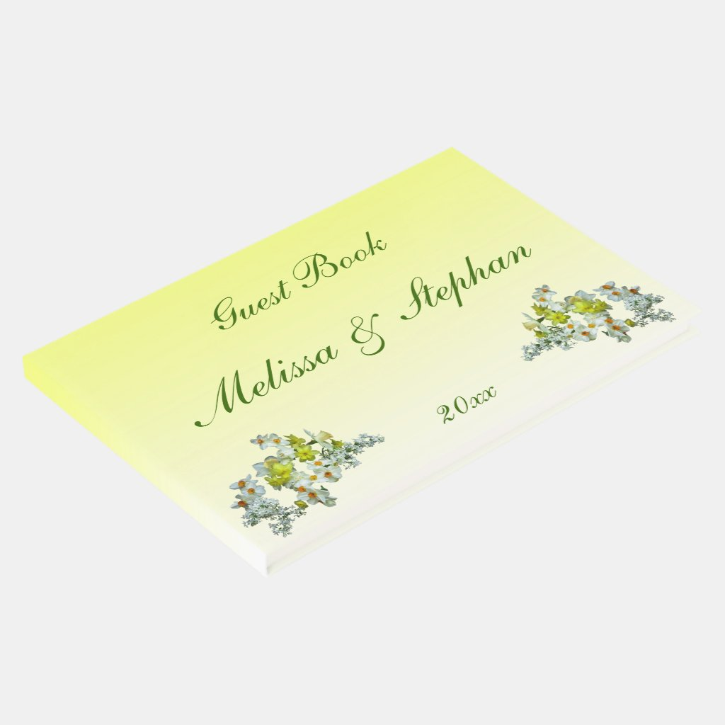 Yellow Floral Wedding Guest Book