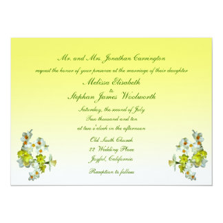 Yellow Floral Wedding 5.5x7.5 Paper Invitation Card