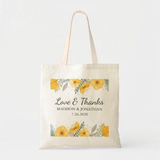 Yellow Floral Wedding Love & Thanks Hotel Welcome Tote Bag