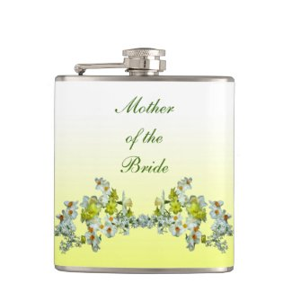 Yellow Floral Wedding Mother of the Bride Flask
