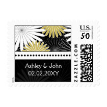 yellow floral wedding stamps