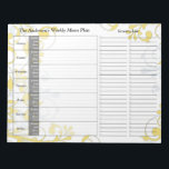 """Yellow Floral Weekly Personalized Menu Planner Notepad<br><div class=""""desc"""">You can personalize the name on this handy yellow floral personalized weekly menu plan calendar or meal planner tear away notepad. Just fill it in each week and then tear it away to get to the next blank week. It includes meal planning for the whole week and a section to...</div>"""