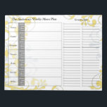 "Yellow Floral Weekly Personalized Menu Planner Notepad<br><div class=""desc"">You can personalize the name on this handy yellow floral personalized weekly menu plan calendar or meal planner tear away notepad. Just fill it in each week and then tear it away to get to the next blank week. It includes meal planning for the whole week and a section to...</div>"