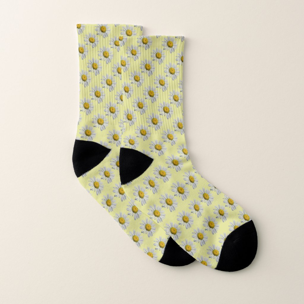 Yellow Floral White Daisy Pattern Socks