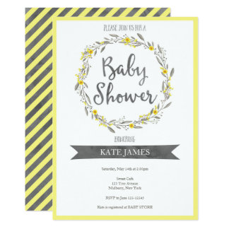 Yellow Floral Wreath Baby Shower Invitation