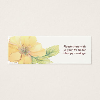 Yellow Florals Wedding Questionnaire Mini Business Card