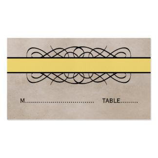 Yellow Flourish Border Wedding Place Card Business Card Templates