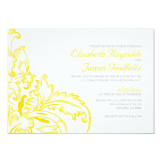 Yellow Flourish Wedding Invitations