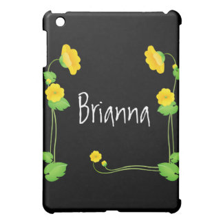 Yellow Flovers Frame Black iPod Case Cover For The iPad Mini