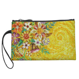 Yellow Flower Abstract Art Small Wristlet