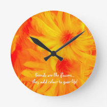 YELLOW FLOWER ABSTRACT DESIGN ROUND ACRYLIC CLOCK