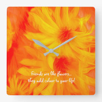 YELLOW FLOWER ABSTRACT DESIGN SQUARE ACRYLIC CLOCK