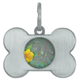 yellow flower abstract swirls pet tag