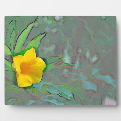 yellow flower abstract swirls plaque