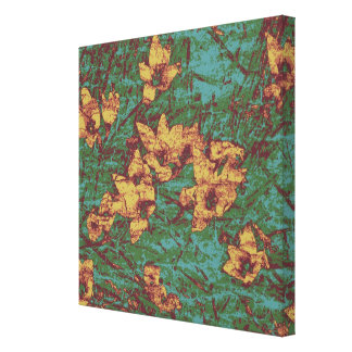 Yellow flower against leaf camouflage pattern 2 canvas print