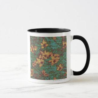 Yellow flower against leaf camouflage pattern 2 mug