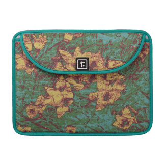Yellow flower against leaf camouflage pattern 2 sleeve for MacBook pro