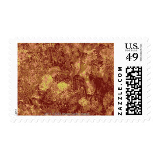 Yellow flower against leaf camouflage pattern postage