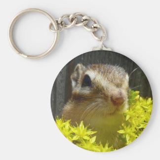 Yellow flower and Chipmunk (1) Keychain