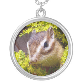 Yellow flower and Chipmunk (1) Round Pendant Necklace