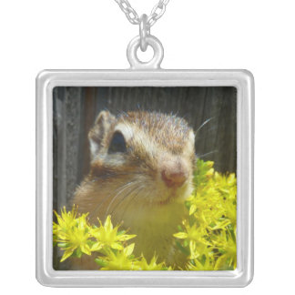 Yellow flower and Chipmunk (1) Square Pendant Necklace