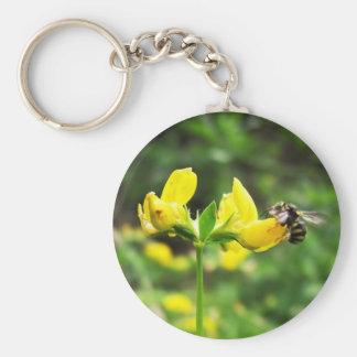 Yellow Flower and Wasp close up macro shoot photo Keychain
