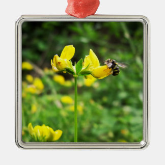 Yellow Flower and Wasp close up macro shoot photo Metal Ornament