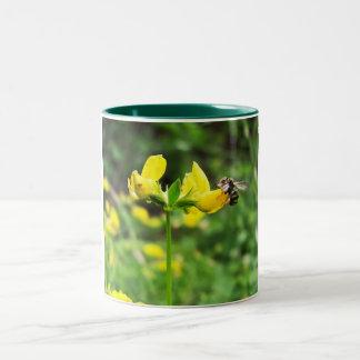 Yellow Flower and Wasp close up macro shoot photo Two-Tone Coffee Mug