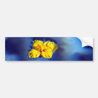 Yellow flower atop blue waters bumper stickers