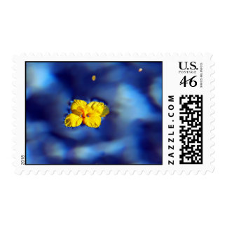 Yellow flower atop blue waters postage