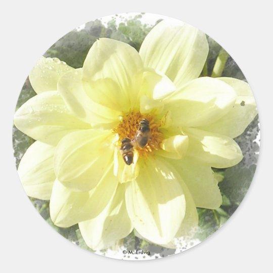 Yellow Flower & Bee Sticker