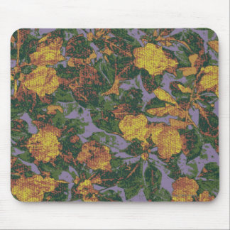 Yellow flower camouflage pattern mouse pad