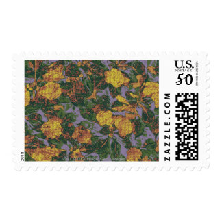 Yellow flower camouflage pattern postage