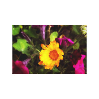 Yellow flower circled in purple canvas print