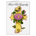 Yellow Flower Cross Sympathy Card 18 Greeting Card