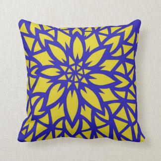 Yellow flower decorative stencil cushion pillow