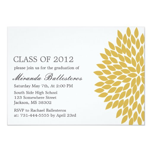 "Yellow Flower Design Graduation Announcements 5"" X 7"" Invitation Card"