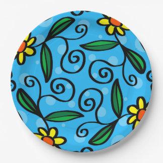 Yellow Flower Doodle Art Designs Paper Plates