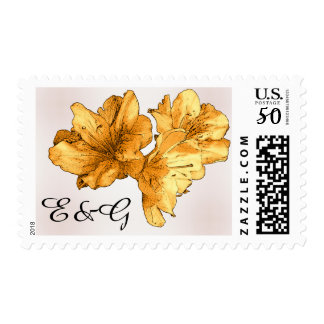 Yellow Flower Drawing Personalize Blush Wedding Postage