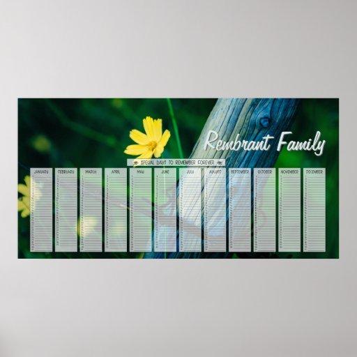 Yellow Flower Fencepost Family Birthday Calendar Print