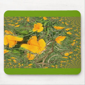 Yellow Flower Fractal Trace Mousepad