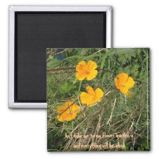 Yellow Flower Garden 2 Inch Square Magnet