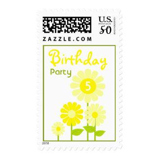 Yellow Flower Garden Birthday Party Postage