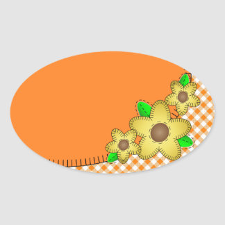 Yellow Flower Gingham Background Oval Sticker