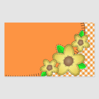 Yellow Flower Gingham Background Rectangle Sticker