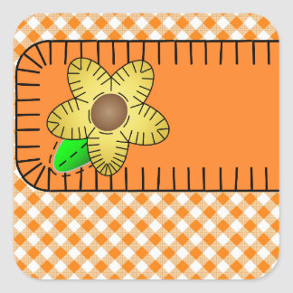 Yellow Flower Gingham  Background Square Sticker