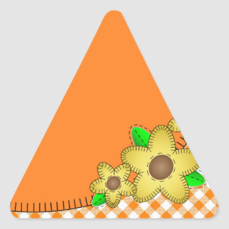 Yellow Flower  Gingham BackgroundTriangle Sticker