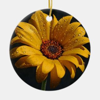 Yellow Flower Head Round Ornament